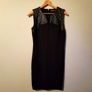 Supertrash   LBD with Quilted Faux Leather Trim Mini Dress